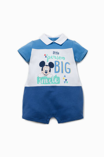 Two-tone Mickey Mouse romper suit, Blue/Light Blue, hi-res
