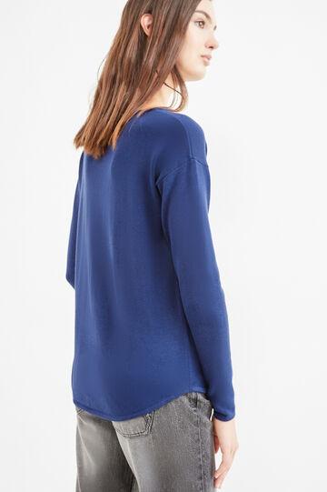 Round neck pullover in cotton., Blue, hi-res