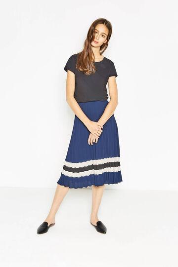 Falda plisada en tejido elástico con estampado, Azul marino, hi-res