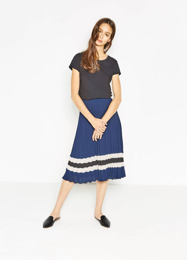 Pleated stretch skirt with print | OVS