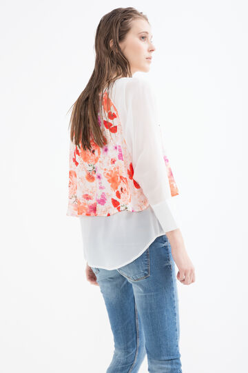 Printed blouse with faux layering, Cream White, hi-res