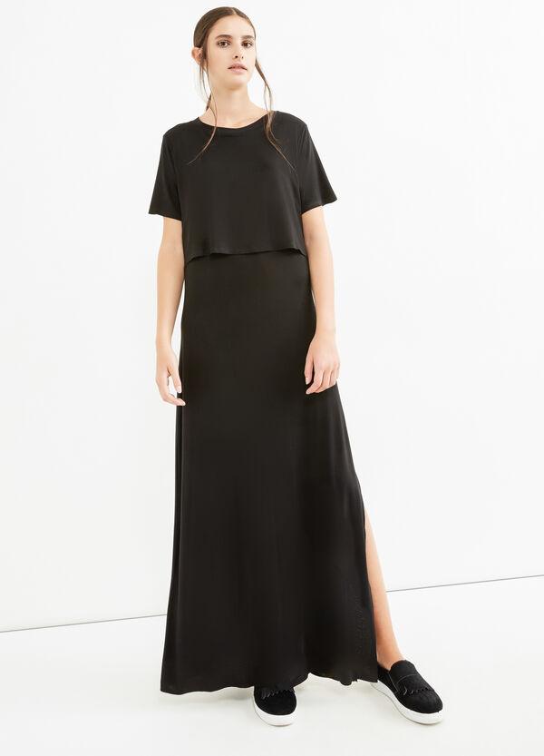 Long stretch viscose dress with split   OVS