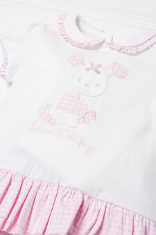 Checked romper suit, White/Pink, hi-res