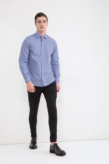 Camicia rigata puro cotone slim fit, Blu/Azzurro, hi-res