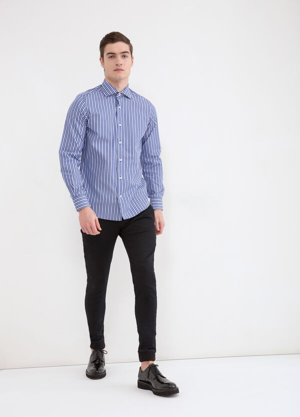 Striped slim fit shirt in 100% cotton | OVS