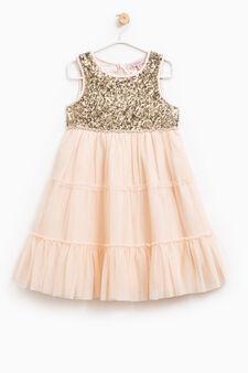 Sleeveless dress with diamantés, Pink, hi-res