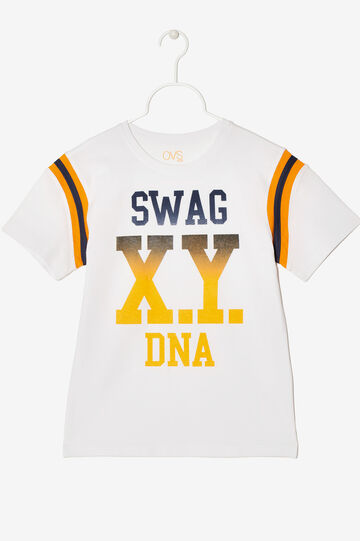 Cotton T-shirt with print, White, hi-res