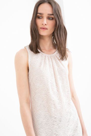 Solid colour top with round neck., Sand, hi-res