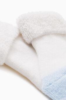 Short cotton blend socks with turn-down top, White/Light Blue, hi-res
