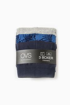 Three-pack stretch cotton boxer shorts, Blue/Grey, hi-res