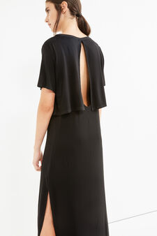 Long stretch viscose dress with split, Black, hi-res