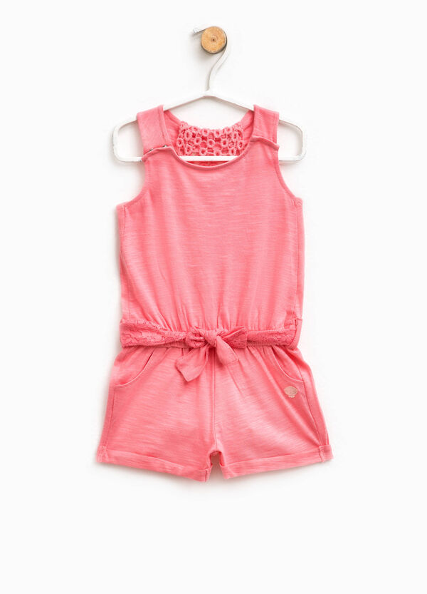 Sleeveless romper suit with belt | OVS