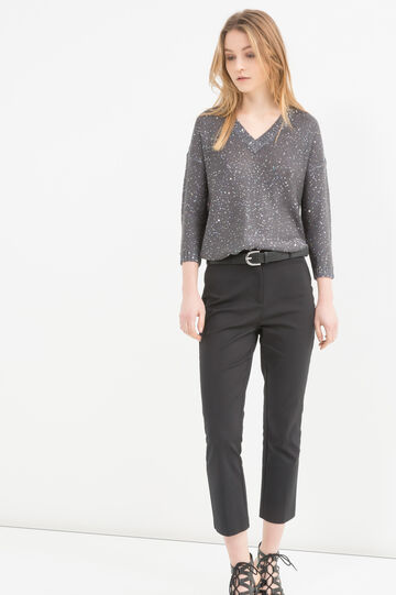 Sequinned knitted pullover, Dark Grey, hi-res