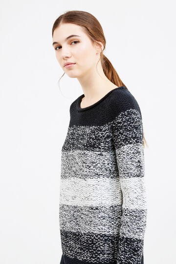 Striped knitted pullover, Black/White, hi-res