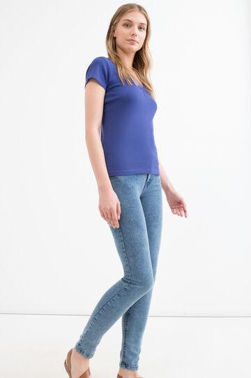 T-shirt puro cotone tinta unita, Blu, hi-res