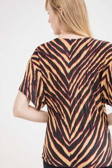 T-shirt plissettata fantasia animalier, Multicolor, hi-res