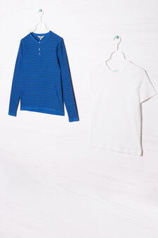 Set of two cotton T-shirts, Cornflower Blue, hi-res