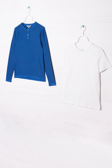 Completo due t-shirt cotone, Blu bluette, hi-res