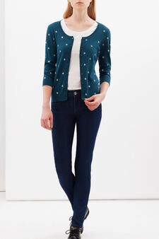 Printed cardigan with three-quarter sleeves., Anthracite Green, hi-res