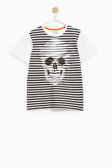 Maxi print T-shirt in 100% cotton, White/Black, hi-res