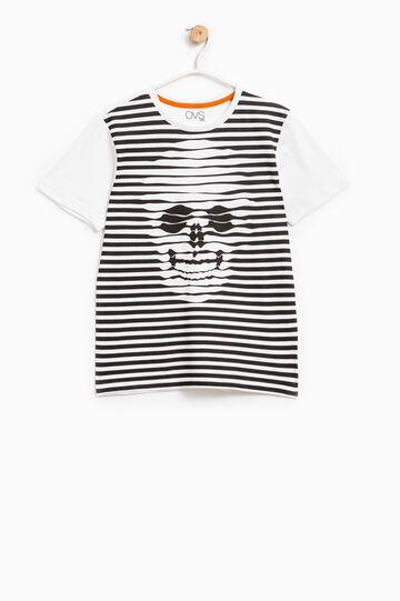 T-shirt puro cotone maxi stampa, Bianco/Nero, hi-res
