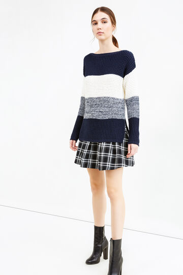 Chunky knit striped pullover, White/Blue, hi-res