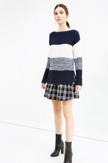 Pullover tricot maglia larga rigata, Bianco/Blu, hi-res