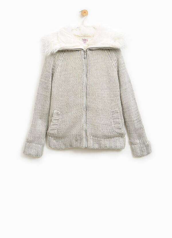 Knitted cardigan with fur | OVS