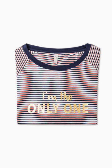 Pyjama top with striped print, Cream White, hi-res