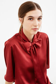 Solid colour stretch blouse with bow, Red, hi-res