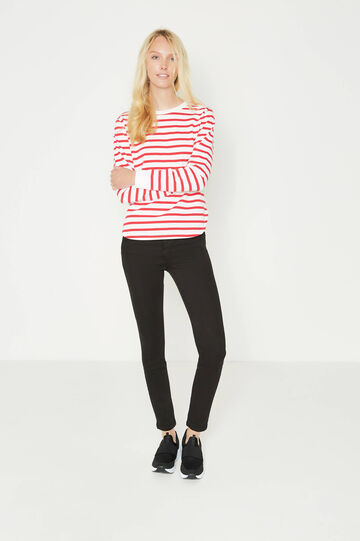 Cotton blend sweatshirt with striped pattern, White/Red, hi-res