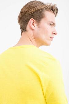 T-shirt sportiva puro cotone stampa, Giallo, hi-res