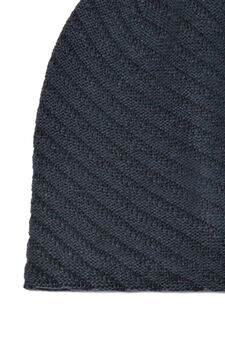Striped-pattern beanie cap, Deep Blue, hi-res