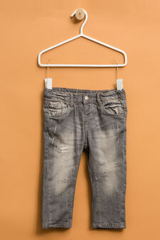 Worn-effects jeans with abrasions, Light Grey, hi-res