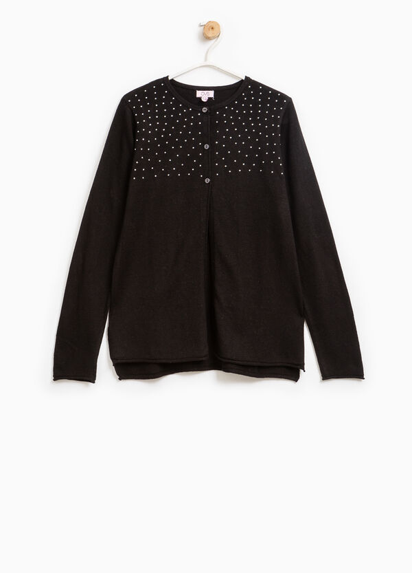 Cotton and viscose cardigan with diamantés | OVS