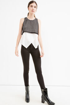 Top with openwork overlap, White/Black, hi-res