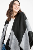 Striped pattern knitted poncho, Black, hi-res
