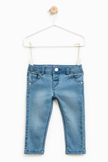 Washed and faded effect stretch jeans, Denim, hi-res