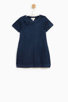 Dotted viscose blend dress., Navy Blue, hi-res