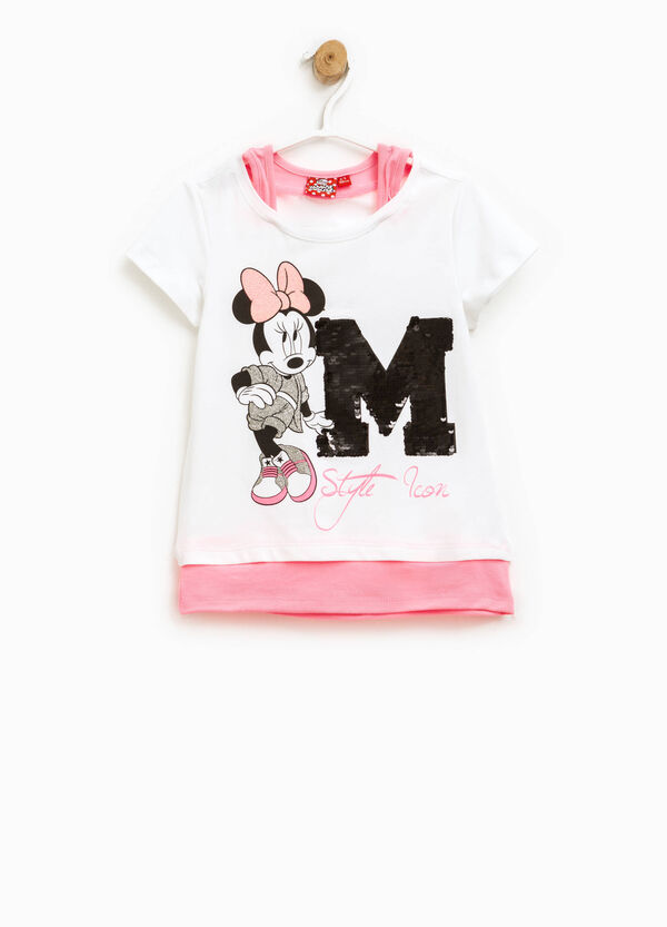 T-shirt finto doppio stampa Minnie | OVS