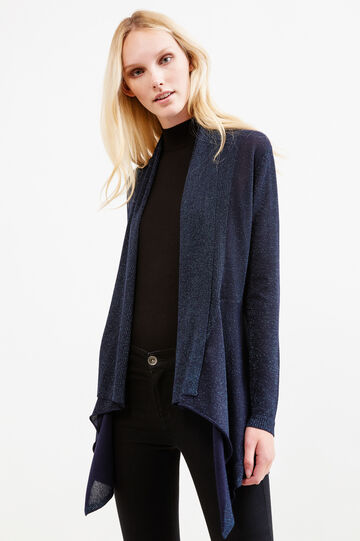 Viscose-lurex blend cardigan, Blue, hi-res