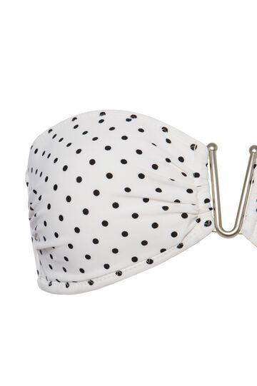 Stretch bandeau top with polka dot pattern, White/Black, hi-res