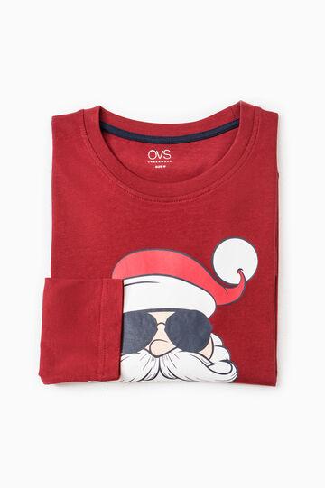 Cotton pyjama top with print, Red, hi-res