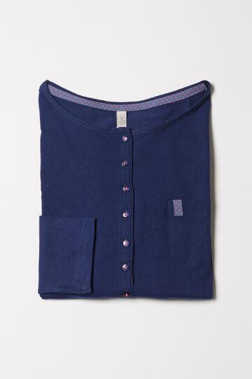 Maglia pigiama cotone con taschino, Blu navy, hi-res
