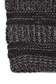 Striped knitted beanie cap, Black, hi-res