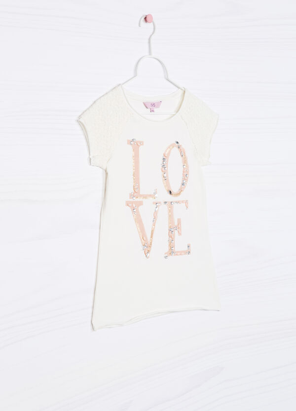 T-shirt con strass cotone stretch | OVS