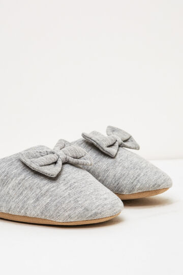 Slippers with bow, Grey, hi-res