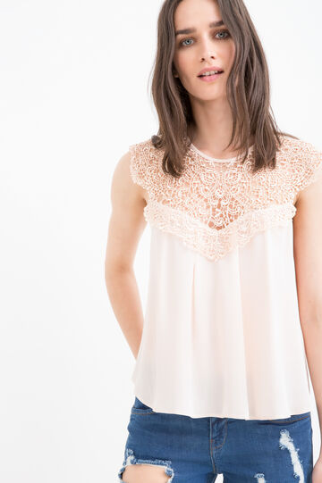 Blouse with openwork insert in neck, Pink, hi-res
