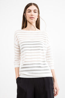 Pullover with semi-sheer inserts, White, hi-res