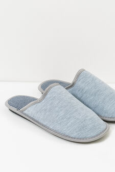 Slippers with hounds' tooth pattern, Light Grey, hi-res